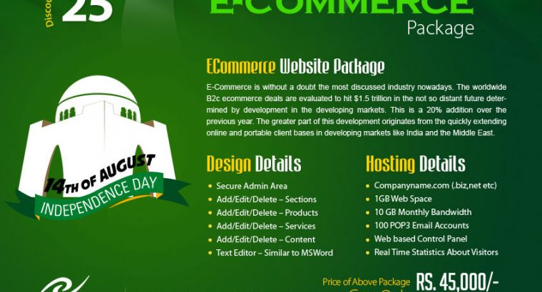 Complete Ecommerce Website Packages at Affordable Prices on 14th August